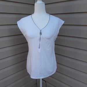 Michael Kors white zip down top, large